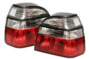 VW Golf III 91-, Lampa tylna CLEAR RED WHITE L+P kpl
